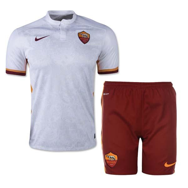 54edc1bcc75 Home Soccer Jerseys & Kits >> Club Soccer Jerseys >> Roma >> 15-16 Roma Away  White Soccer Jersey Kit(Shirt+Short)