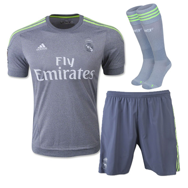 finest selection a1d48 cf10c 15-16 Real Madrid Away Gray Children's Whole Kit(Shirt+Short+Sock)