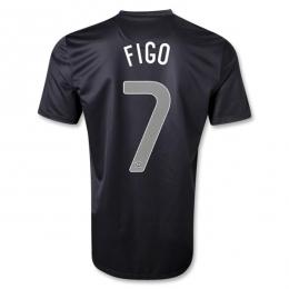 2013 Portugal #7 FIGO Away Black Thailand Quality Replica Jersey Shirt
