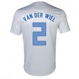 2013 Netherlands #2 Van Der Wiel Away White Jersey Shirt