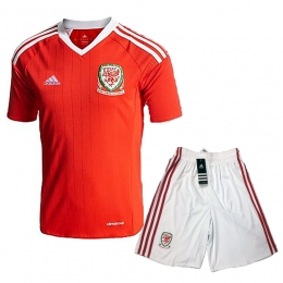 2016 Wales Home Red Soccer Jersey Kit(Shirt+Short)