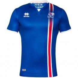 2016 Iceland Home Blue Soccer Jersey Shirt