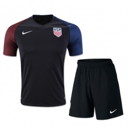 2016 USA Away Black Soccer Jersey Kit(Shirt+Short)
