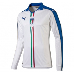 2016 Italy Away White Long Sleeve Jersey Shirt