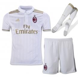 16-17 AC Milan Away White Children's Jersey Whole Kit(Shirt+Short+Socks)
