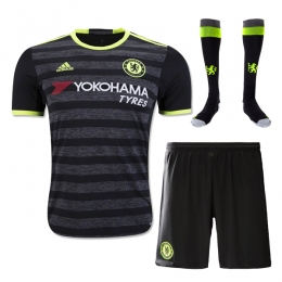 16-17 Chelsea Away Black Children's Jersey Whole Kit(Shirt+Short+Socks)