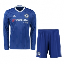 16-17 Chelsea Home Long Sleeve Children's Jersey Kit(Shirt+Short)