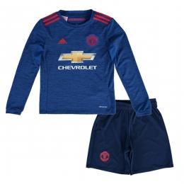 16-17 Manchester United Away Blue Long Sleeve Children's Jersey Kit(Shirt+Short)