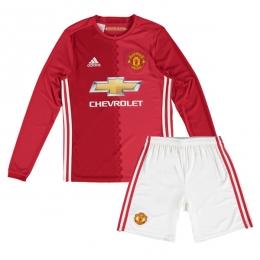 16-17 Manchester United Home Long Sleeve Children's Jersey Kit(Shirt+Short)