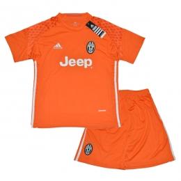 16-17 Juventus Goalkeeper Orange Children's Jersey Kit(Shirt+Short)