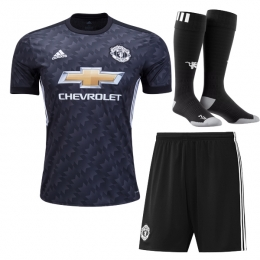 17-18 Manchester United Away Black Jersey Whole Kit(Shirt+Short+Socks)
