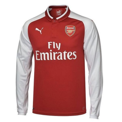 17-18 Arsenal Home Long Sleeve Soccer Jersey Shirt
