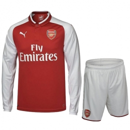 17-18 Arsenal Home Long Sleeve Soccer Jersey Kit(Shirt+Short)