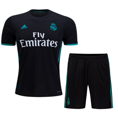 17-18 Real Madrid Away Black Soccer Jersey Kit(Shirt+Short)