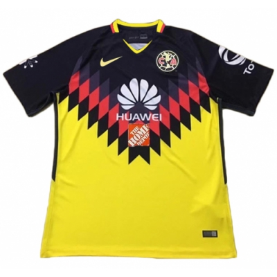 17-18 Club America Home Yellow Soccer Jersey Shirt