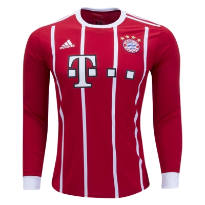 17-18 Bayern Munich Home Long Sleeve Jersey Shirt
