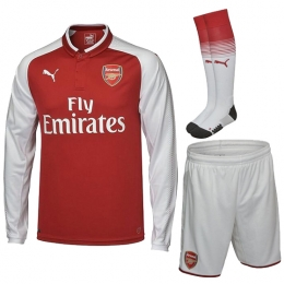 17-18 Arsenal Home Long Sleeve Soccer Jersey Whole Kit(Shirt+Short+Socks)