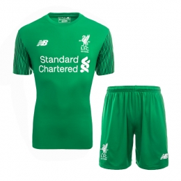 17-18 Liverpool Goalkeeper Green Soccer Jersey Kit(Shirt+Short)
