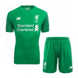 17-18 Liverpool Goalkeeper Green Soccer Jersey Kit(Shirt+Short)