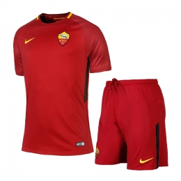 17-18 Roma Home Red Soccer Jersey Kit(Shirt+Short)
