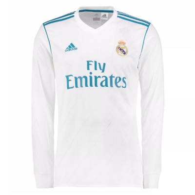17-18 Real Madrid Home White Long Sleeve Jersey Shirt