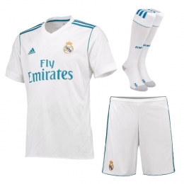 17-18 Real Madrid Home White Soccer Jersey Whole Kit(Shirt+Short+Socks)