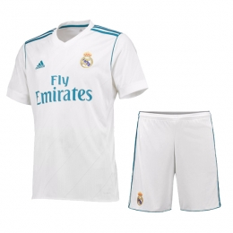 17-18 Real Madrid Home White Soccer Jersey Kit(Shirt+Short)