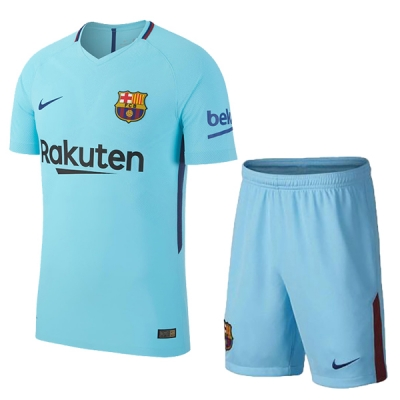 17-18 Barcelona Away Blue Soccer Jersey Kit(Shirt+Short)