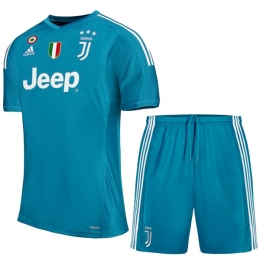 17-18 Juventus Goalkeeper Blue Soccer Jersey Kit(Shirt+Short)