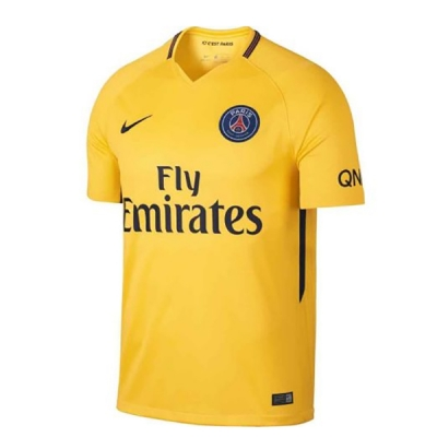 17-18 PSG Away Yellow Soccer Jersey Shirt
