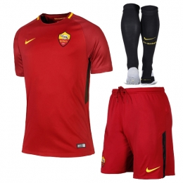 17-18 Roma Home Red Soccer Jersey Whole Kit(Shirt+Short+Socks)