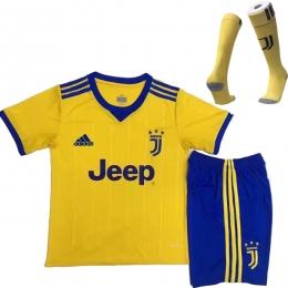 17-18 Juventus Away Yellow Children's Jersey Whole Kit(Shirt+Short+Socks)