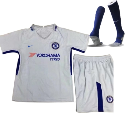 17-18 Chelsea Away White Children's Jersey Whole Kit(Shirt+Short+Socks)
