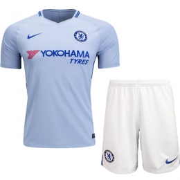 17-18 Chelsea Away White Soccer Jersey Kit(Shirt+Short)