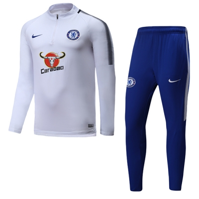 17-18 Chelsea White&Navy Training Kit(Half Zipper Jacket+Trouser)