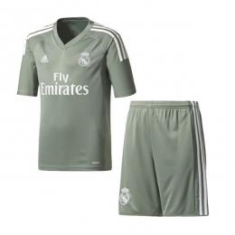 17-18 Real Madrid Goalkeeper Green Soccer Jersey Kit(Shirt+Short)