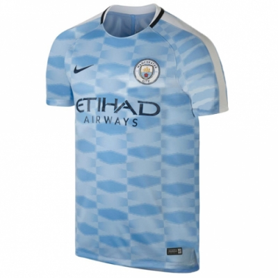 17-18 Manchester City Blue Pre-MatchTraining Shirt