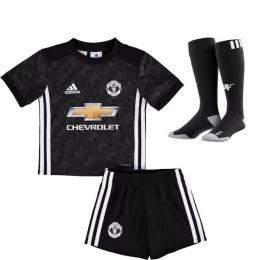 17-18 Manchester United Away Black Children's Jersey Whole Kit(Shirt+Short+Socks)