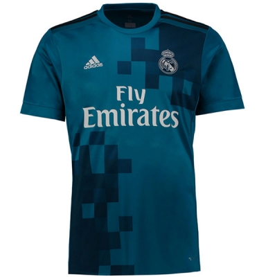 17-18 Real Madrid Third Away Blue Soccer Jersey Shirt