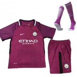 17-18 Manchester City  Away Purple Children's Jersey Whole Kit(Shirt+Short+Socks)