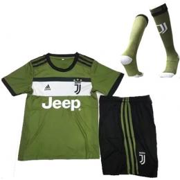 17-18 Juventus Third Away Green Children's Jersey Whole Kit(Shirt+Short+Socks)