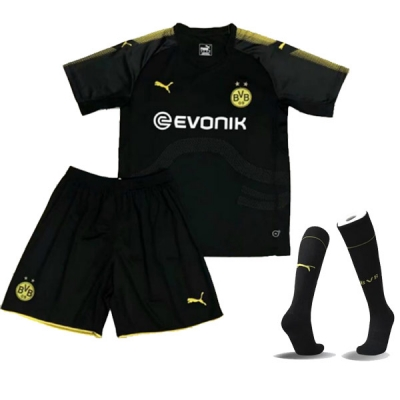 17-18 Borussia Dortmund Away Black Children's Jersey Whole Kit(Shirt+Short+Socks)