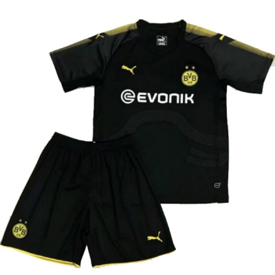 17-18 Borussia Dortmund Away Black Children's Jersey Kit(Shirt+Short)