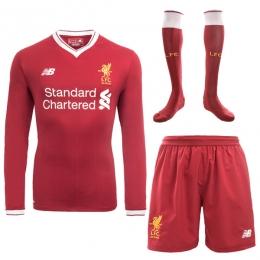 17-18 Liverpool Home Long Soccer Jersey Whole Kit(Shirt+Short+Socks)