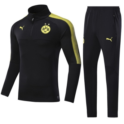 17-18 Borussia Dortmund Black Training Kit(Zipper Shirt+Trouser)