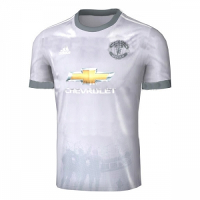 17-18 Manchester United Third Away Gray Soccer Jersey Shirt(Player Version)