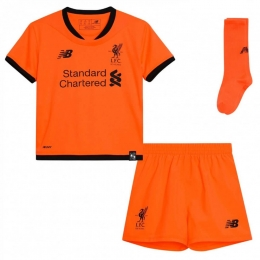 17-18 Liverpool Third Away Orange Children's Jersey Whole Kit(Shirt+Short+Socks)