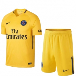 17-18 PSG Away Yellow Soccer Jersey Kit(Shirt+Short)