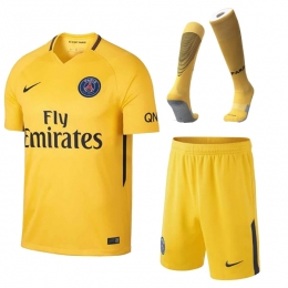 17-18 PSG Away Yellow Soccer Jersey Whole Kit(Shirt+Short+Socks)