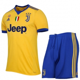 17-18 Juventus Away Yellow&Blue Soccer Jersey Kit(Shirt+Short)
